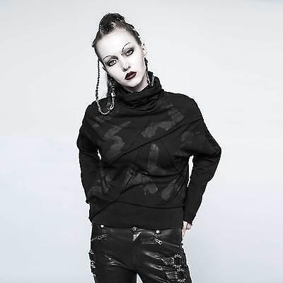PUNK RAVE Darkly Top Gothic Sweat Shirt für Damen Schwarz Turtleneck Sweater