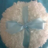 Shaggy Body Powder Puff, Super Soft, 8 Inches With Blue Bow And Ribbon Handle