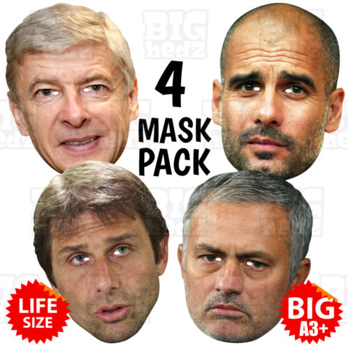 CONTE PEP GUARDIOLA MOURINHO BIG A3 or Life-size Manager 4 MASK PACK WENGER