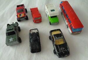 7x-Vintage-Majorette-Diecast-4x4-Toyota-DEPANNEUSE-Corvette-Camping-Coche-Neoplan