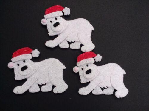 Embellishments Card Topper, 3 polar bear glitter felt Christmas die cuts