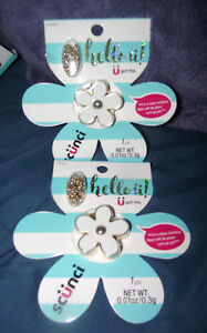 2-NEW-Scunci-Hello-U-White-amp-Gold-Daisy-Locket-Necklace-Flower-Power-Lip-Gloss