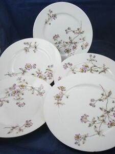 5-French-Limoges-Purple-Passion-Flower-7-7-8-034-Dish-Plates-CFH-GDM-Haviland