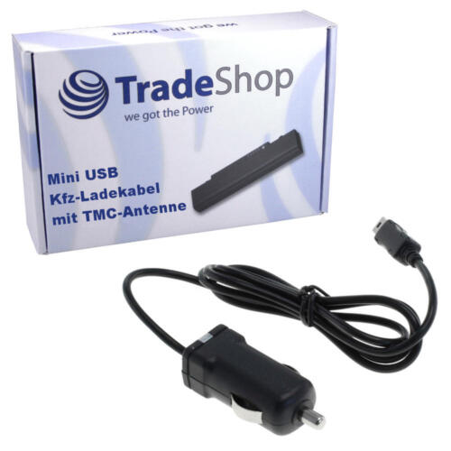1A mit Mini USB integrierte TMC Antenne für Navigon 70 Plus KFZ Ladekabel 5V