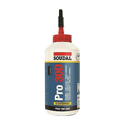 1x 750g Soudal Holzleim Pro 30D Flasche Wasserfest Farbe weiss D3 Leim Holz