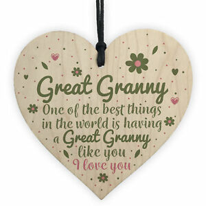 Image Is Loading Great Granny Gift Wooden Heart Grandparent Birthday