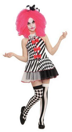 Girls Scary Clown Costume Harlequin Joker Jester Halloween Outfit Kids Teen UK