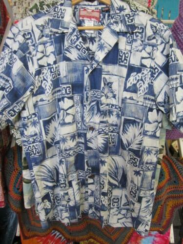 XL Vintage Hawaiian Shirt ISO Light Green Cream Bl