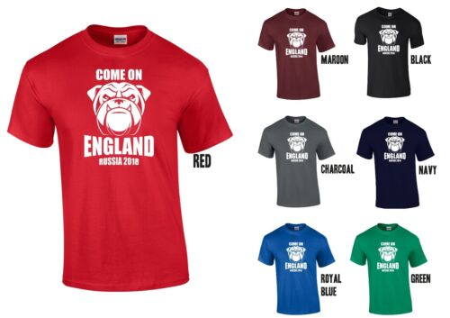 Bulldog Come On England Russia 2018 T-Shirt XS-5XL English World Cup
