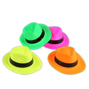 Image is loading 12-Pack-Neon-Gangster-Hats-Party-Fancy-Dress- ac5b034d663f