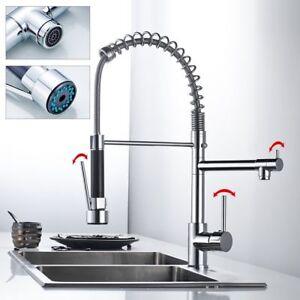 Kitchen Swivel Spout Single Handle Sink Faucet Pull Down Spray Mixer