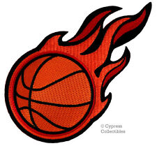 Flaming Basketball Embroidered Iron-on Patch Applique Flames - Slam Dunk Emblem