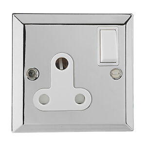 British-General-Chrome-Single-1-Gang-BS-546-Round-Pin-Socket-Switched-15A-Plug