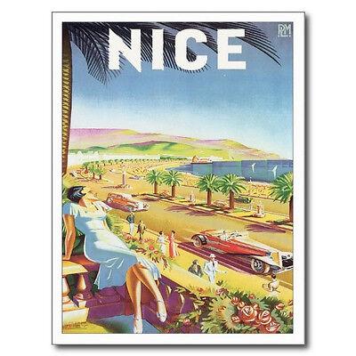 French France Art Print LARGE 38x26 NICE VINTAGE TRAVEL POSTER