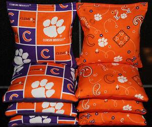 8 ACA Regulation Cornhole Bags 8 NCAA Clemson University Tigers and Solid Orange