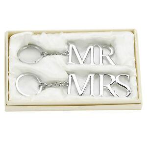 Amore-Lot-de-2-Argente-Porte-Cles-Mr-et-Mme-Fantastique-Cadeau-Mariage