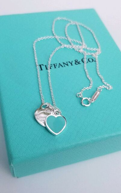 49f06b280 Return to Tiffany & Co Mini Double Heart Tag Pendant Necklace Enamel Silver  Blue