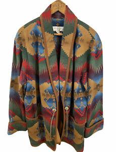 Jones-New-York-Women-039-s-1x-Jacket-Aztec-Navajo-Southwestern-Print-Open-Front