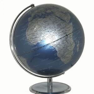 STUNNING Metallic Blue Educational Quality World Globe Home Decor 30cm Diameter