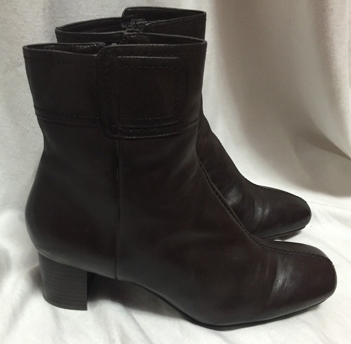 Nine West Brown Womens Ankle Booties Leather 7.5M Heels Belted Amoro FashionShoe