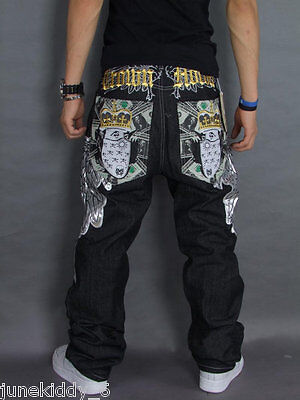 New Mens Jeans Black Denim Embroidery Snake Casual Pants Trousers HipHop W30-W44