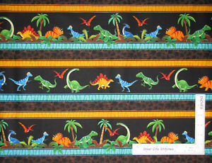 Dinosaur-T-Rex-Border-Stripe-Cotton-Fabric-Timeless-Treasures-C3067-By-The-Yard