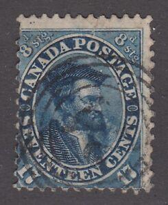 "Canada Scott #19  17 cent Jacques Cartier blue ""First Cents""  F"
