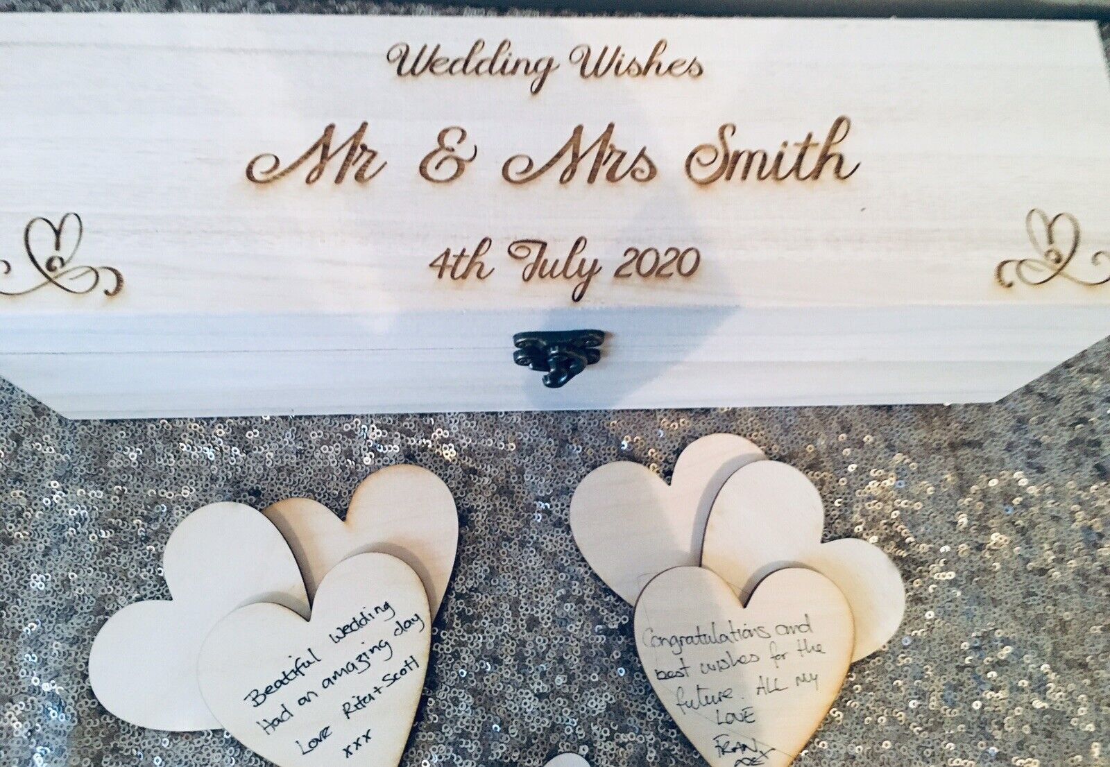 Rectangle - Personalised Wooden Rustic Alternative Heart Wish Box