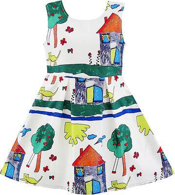 Sunny Fashion Girls Dress House Tree Cat Bird Print Party Sundress Size 4-10