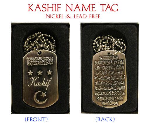"/""Kashif/"" para hombre nombre árabe Collar Tag-Cumpleaños Boda ayatul kursi Eid Regalos"