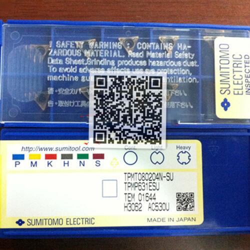 Sumitomo  TPMT080204N-SU AC530U 10pcs NC inserts Carbide blade