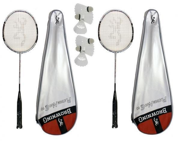 2 x Browning Nanolite Badminton Rackets 3 shuttles 1 Adult + 1 Junior