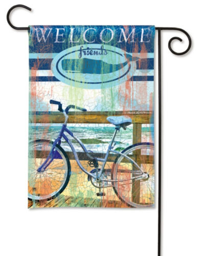 """WELCOME FRIENDS Bicycling on Boardwalk 12.5/""""x18/"""" Small Ocean Beach Banner Flag"""