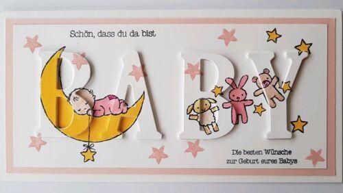 3D-Karte zur Geburt Glückwunschkarte zum Baby auf Wunsch personalisiert