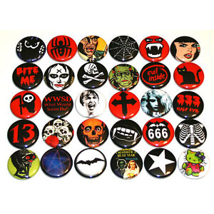Spooky-Creepy-Dark-Gothic-BADGES-Lot-x-30-Buttons-Pins-25mm-One-Inch-1-034