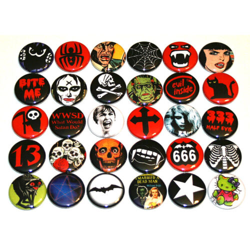 """Spooky Creepy Dark Gothic BADGES Lot x 30 Buttons Pins 25mm One Inch 1/"""""""