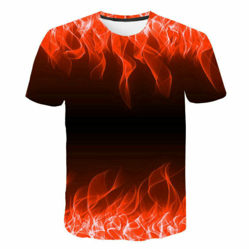 STOCK Men/'s Funny T-Shirt 3D Fire Flame Graphic Print Short Sleeve Tee Top S-6XL