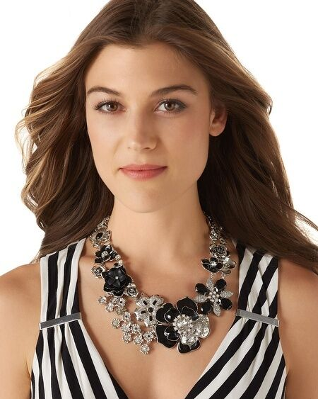 Halskette Frau blueme black silver Kristall modern Original Abend Ehe qt 3