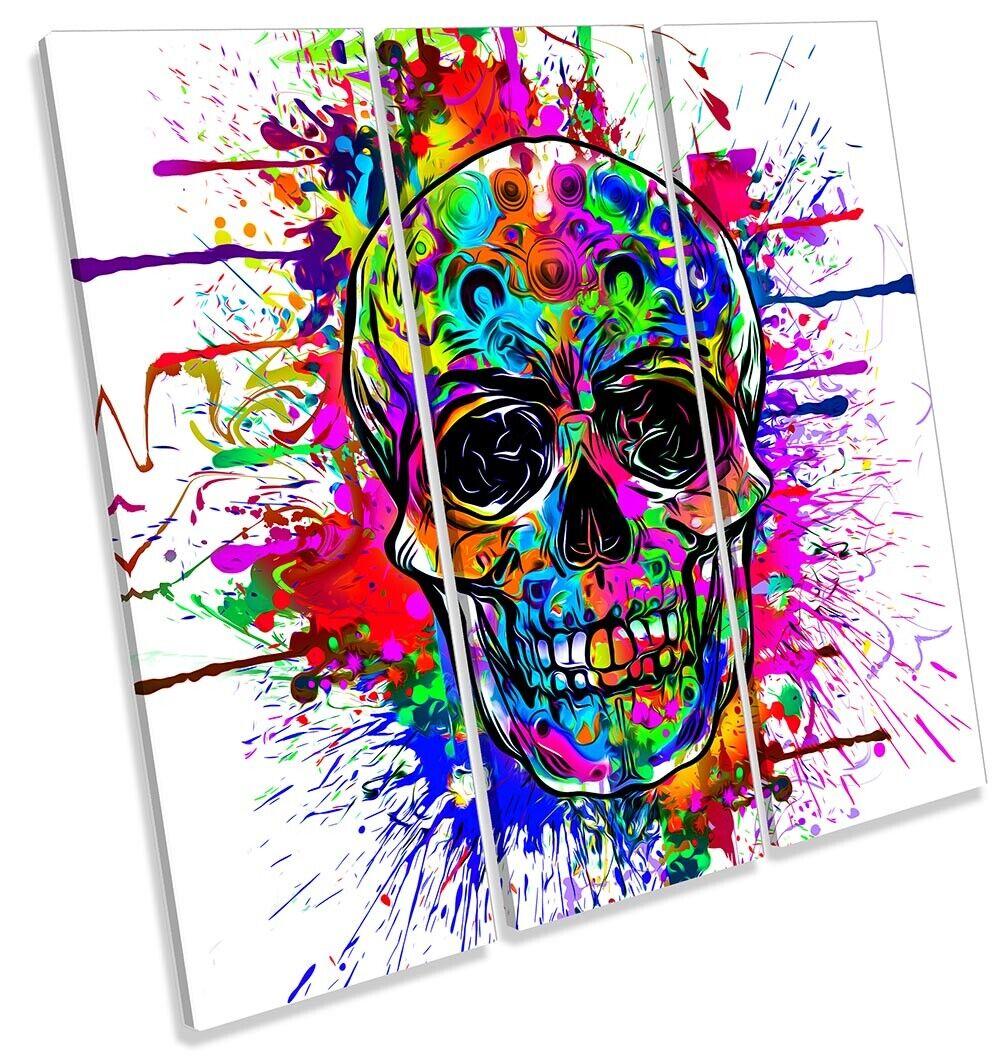 Skull Face Graffiti Bild TREBLE CANVAS Wand Kunst Square Drucken Multi-Colourot