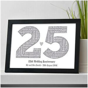 Dettagli Su 25th Argento Anniversario Di Matrimonio Regali Personalizzata Mr Mrs 25 Anni Stampa Regali Mostra Il Titolo Originale