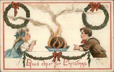 Christmas - Children at Dinner Table HBG Griggs c1910 Postcard