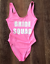 Ladies-BRIDE-SQUAD-Swimsuit-Bridesmaid-Swimming-Bathing-Costume-Hen-Party-Bridal miniatura 12