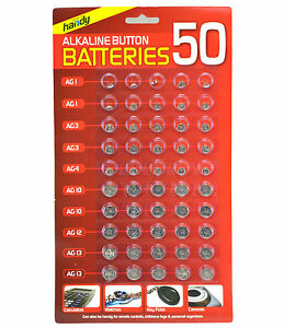 NEW 50 ASSORTED BUTTON CELL WATCH BATTERY BATTERIES AG 1 / 3 / 4 / 10 / 12 / 13 4536585625452