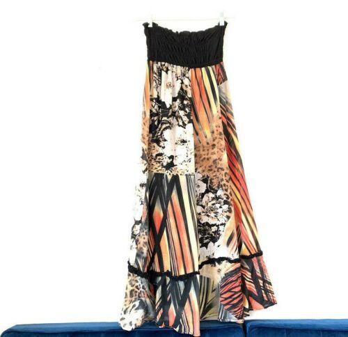 Alysi Size 6 Shirred Elastic Waist Silk Blend Anim