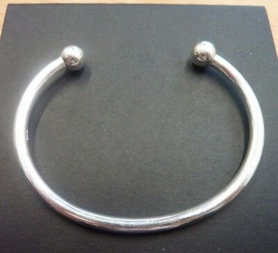 7.8mm balls Solid Sterling Silver Torque Bangle 26 grams
