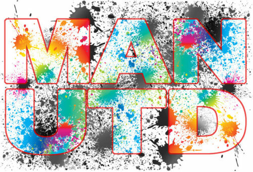 Man Utd Paint Splash Football Word Wall Art Canvas Print Red Manchester United U