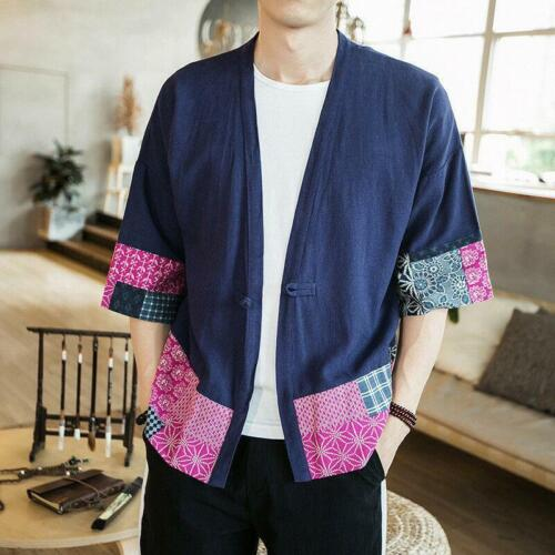 Mens Linen Japan Kimono Floral 3//4 Sleeve Ethnic Cardigan T-shirt Tops Blouse