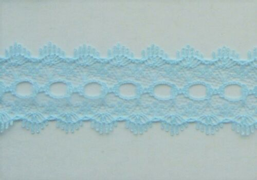 5 x blue colour variations listed CRAFT-EYELET-LACE 28mm Knitting Eyelet Lace