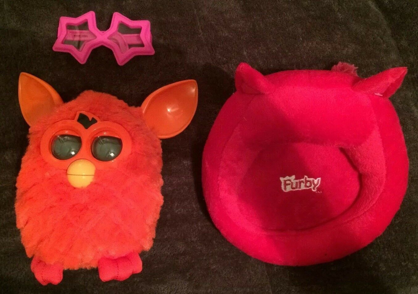 Furby orange Phoenix With Bed And Glasses Toy Electronic 2012 Hasbro Working