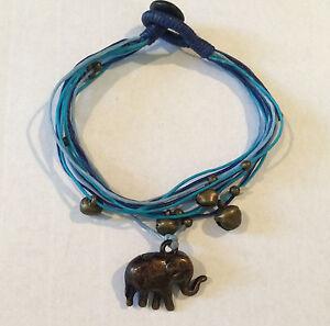5f2cdaf8b3510 Details about Handmade Bronze Elephant with Blue Multi strand Friendship  Bracelet with bells!